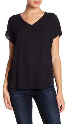 Catherine Malandrino Mixed Media V-Neck Blouse (Petite)