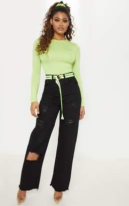 PrettyLittleThing Tall Black Distressed Straight Leg Jean