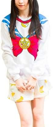 Harajuku Lovers Cartiar Sailor Moon Lolita Cosplay Sweatshirts Cute Bow-knot Fleece Pullover Hoodies