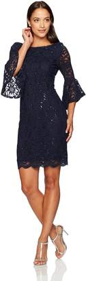 Tiana B Women's Petite Bell Sleeve Sequin Lace Dress