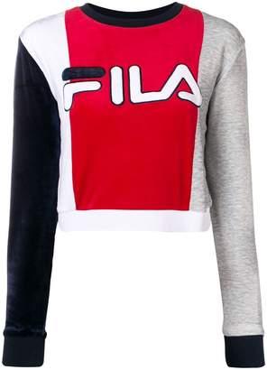 Fila colour block cropped sweatshirt