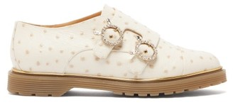 Charlotte Olympia Ostrich Effect Leather Double Monk Strap Loafers - Womens - White