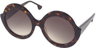 Alice + Olivia Stacey Notched Round Sunglasses, Brown Tortoise