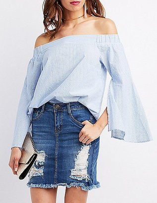 Pinstripe Off-The-Shoulder Bell Sleeve Top $23.99 thestylecure.com