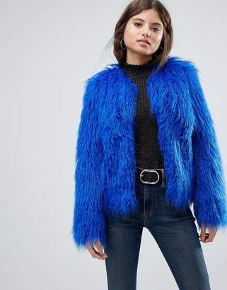 Asos DESIGN Mongolian Faux Fur Jacket