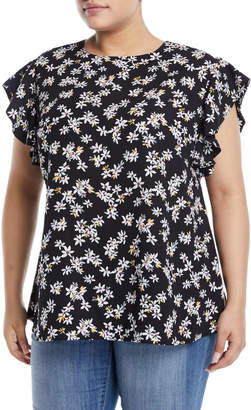 Neiman Marcus Ruffled-Sleeve Woven Floral Blouse, Plus Size