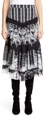Fuzzi Lace Print Tiered Skirt