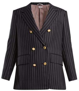 Thom Browne Chalk Stripe Double Breasted Wool Blazer - Womens - Navy White