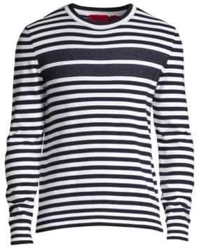 HUGO Men's Stefo Striped Crewneck Sweater - Navy - Size Large