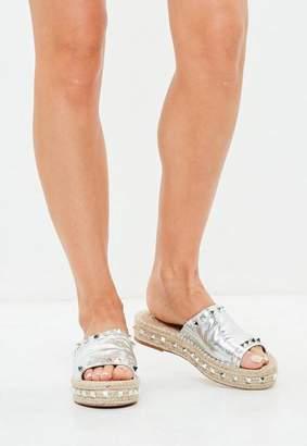 Missguided Silver Studded Strap Flatform Espadrilles