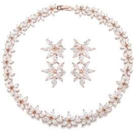 Luxe Abigail Crystal Leaf Statement Necklace & Earrings Set
