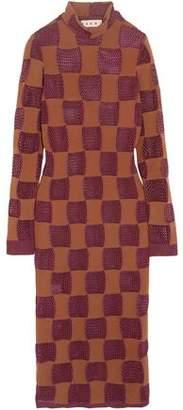 Marni Patchwork Open-Knit Turtleneck Midi Dress