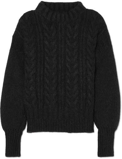 Cecilie Bahnsen - Selma Open-back Cable-knit Merino Wool-blend Sweater - Black