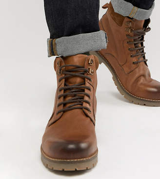 Asos Design DESIGN lace up worker boots in tan leather