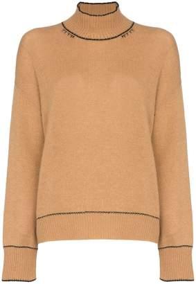 Marni distressed cashmere roll neck jumper