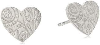 Me & Ro Me&Ro Sterling Paisley Heart Stud Earrings