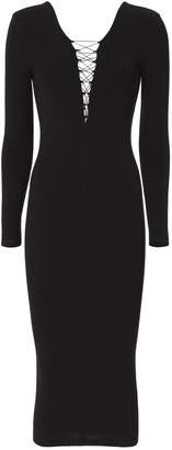 Alexander Wang Lace-Up Black Midi Dress