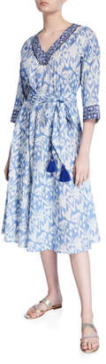 Bella Tu Ikat V-Neck 3/4-Sleeve A-Line Dress
