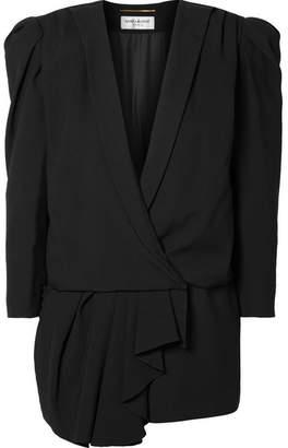 Saint Laurent Asymmetric Draped Crepe De Chine Playsuit - Black