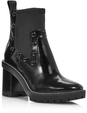 Tory Burch Women's Preston Round-Toe Studded High-Heel Leather Boots