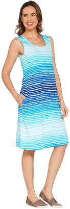 Denim & Co. Sleeveless Watercolor Stripe Dress with Pockets
