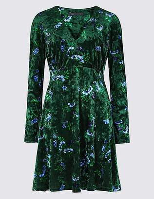 Marks and Spencer Floral Print Velvet Long Sleeve Tea Dress