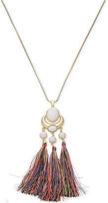 "INC International Concepts Trina Turk x I.n.c. Gold-Tone Stone & Tassel 30"" Pendant Necklace, Created for Macy's"