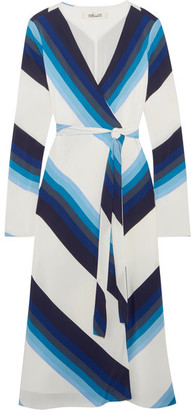 Diane von Furstenberg - Striped Silk Crepe De Chine Wrap Dress - Blue $500 thestylecure.com