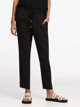 DKNY Stretch Twill Drawstring Straight Leg Pant