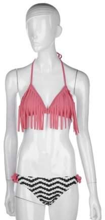 RICH 2018 New Sexy Halter Tassel Bikini Low Waist Swim Bottoms Two Pieces M Size Bathing Suit for Women Pink