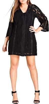 City Chic Innocent Lace Shift Dress
