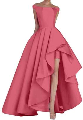 NewFex Women's Off Shoulder Evening Gown High Low Prom 2017 Satin Formal Dress