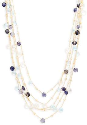 Saks Fifth Avenue Women's Blue Topaz, Quartz & 18K Goldplated Sterling Silver Multi-Strand Necklace