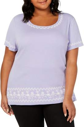 Karen Scott Plus Relaxed-Fit Embroidered Striped Cotton Blend Top