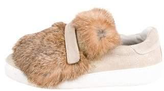 Moncler Luice Rabbit-Fur Sneakers