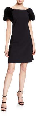 La Petite Robe Boat-Neck Ruffle-Sleeve Short Dress