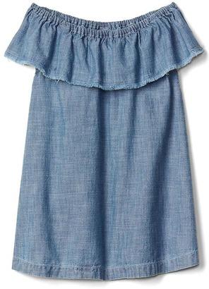 Chambray ruffle dress $34.95 thestylecure.com
