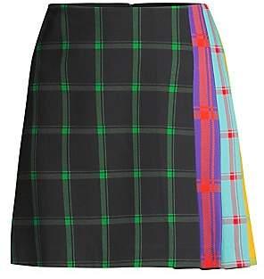 Alice + Olivia Women's Semira Multicolor Side-Pleat Plaid Mini A-Line Skirt
