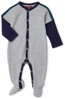 7 For All Mankind Newborn Boys) Grey V-Neck Footie