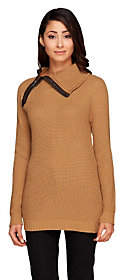 Lisa Rinna Collection Zip Neck Sweater w/Faux Leather