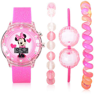 DISNEY MINNIE MOUSE Disney Minnie Mouse Unisex Pink Strap Watch-Mn40005jc