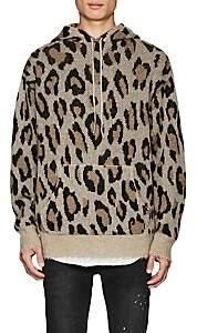 R 13 Men's Leopard-Pattern Cashmere Hoodie-Brown