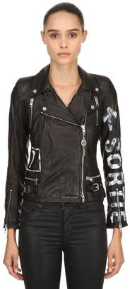 Hand-Painted Leather Biker Jacket