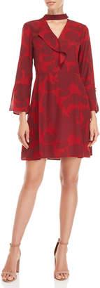 Derek Lam 10 Crosby Gigi Floral Ruffle Bell Sleeve Silk Dress