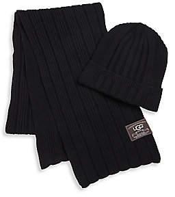 UGG Men's Ribbed Cuff Hat& Scarf Set