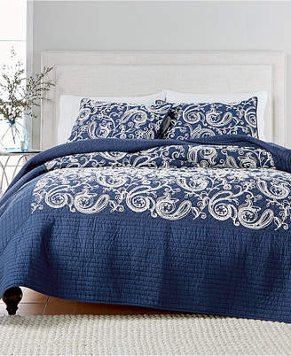 Martha Stewart Collection Closeout! Collection Paisley Vine Cotton Crewelwork Twin Quilt, Created for Macy's