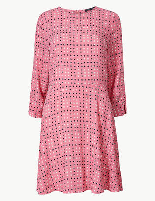 Marks and Spencer Spotted 3/4 Sleeve Fit & Flare Mini Dress