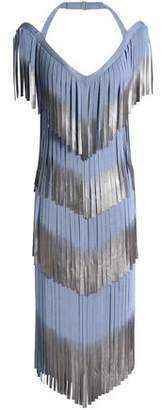 Herve Leger Metallic Fringe-Trimmed Bandage Dress