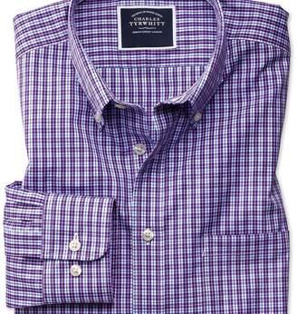 Charles Tyrwhitt Slim fit non-iron purple gingham shirt