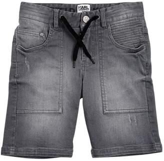 Karl Lagerfeld Stretch Cotton Denim Shorts
